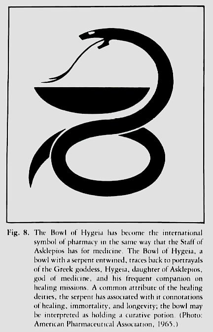 The Bowl of Hygeia has become the international symbol of pharmacy in the same way the Staff of Asklepios has for medicine.  The Bowl of Hygeia, a bowl with a serpent entwined, traces back to portrayals of the Greek goddess, Hygeia, daughter of Asklepios, god of medicine, and his frequent companion on healing missions.  A common attribute of the healing deities, the serpent has associated with it connotations of healing, immortality, and longevity; the bowl may be interpreted as holding A…