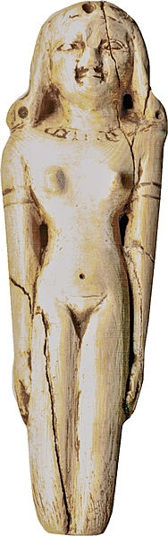 A slender girl is represented nude except for a bead necklace, arm rings, and an elaborate wig that ends in curls at the shoulders. Holes on the front, back, and top of the curls, across the top of the head, and down the back of the head were probably used for inlay or for the attachment of hair. The fingernails are indicated on the well-shaped hands. The back of the figure is flat. As is often the case with figures, the lower legs are intentionally cut off.  2040--1786 BC IVORY
