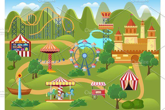 Amusement Park Concept Landscape Map Landscape Concept Amusement Park Amusement