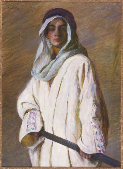 """""""Portrait of Kahlil Gibran,"""" Lilla Cabot Perry, ca. 1898-99, oil on canvas, 40 x 29"""", Telfair Art Museum."""
