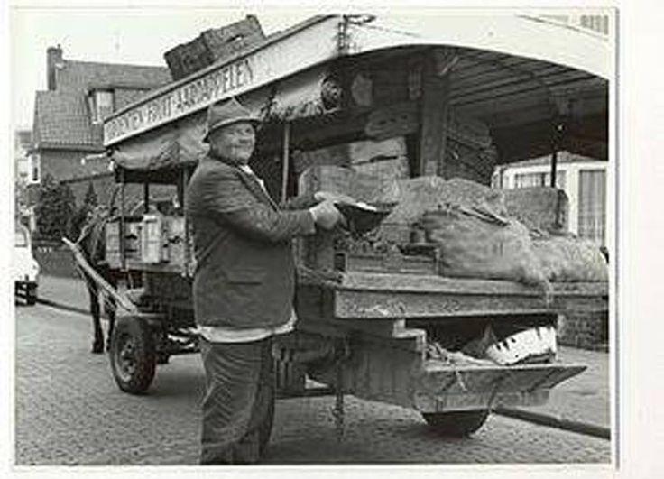 Groenteboer Janus van der Velden met paard en wagen omstreeks 1950 . Het dier wist dat hij bij ons oud brood kreeg. Duurde het te lang naar zijn zin, begon hij met zijn voorpoot over de stenen in de straat te schrapen…