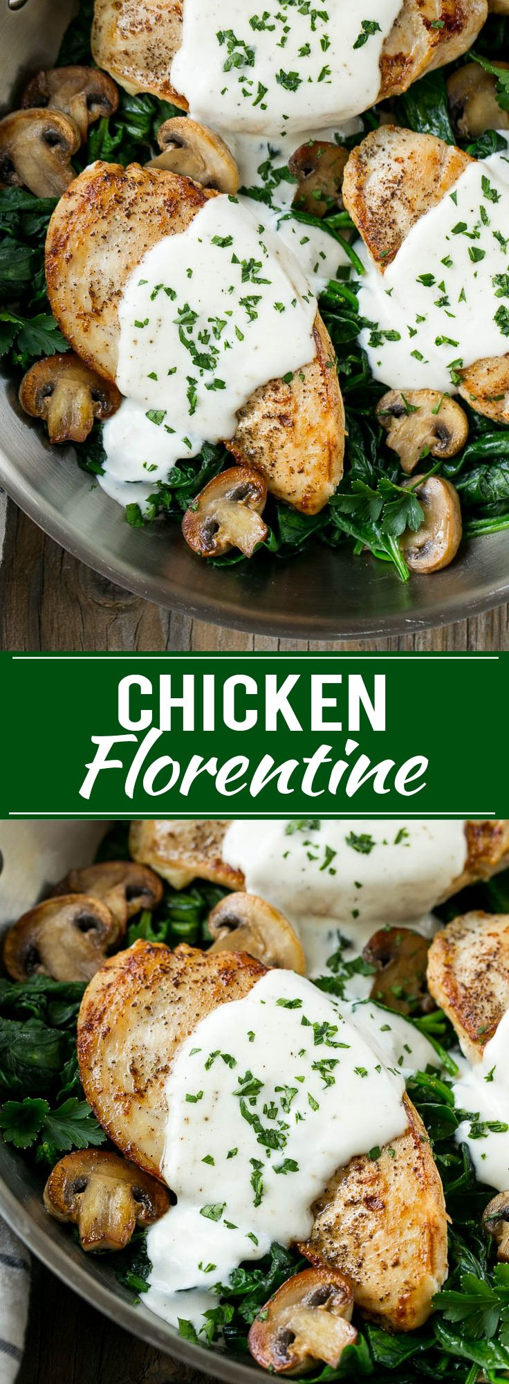 This recipe for chicken florentine is golden brown chicken breasts, topped with a creamy sauce and served over a bed of spinach. A classic dinner that will have you licking your plate!