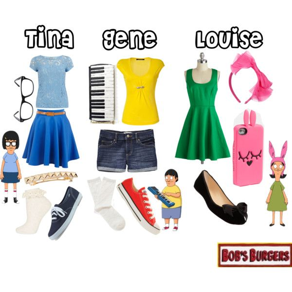 """""""Bob's Burgers - Tina, Gene, and Louise Belcher"""" by kuri-chan on Polyvore"""