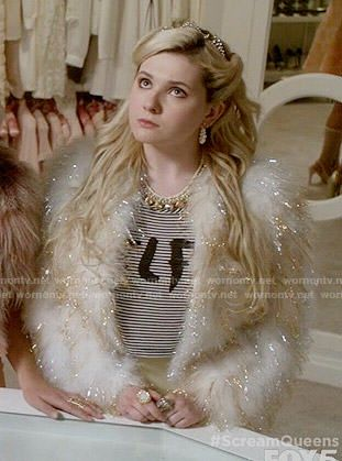 Chanel 5's SELFIE top and gold and white fur jacket on Scream Queens.  Outfit Details: http://wornontv.net/54129/ #ScreamQueens