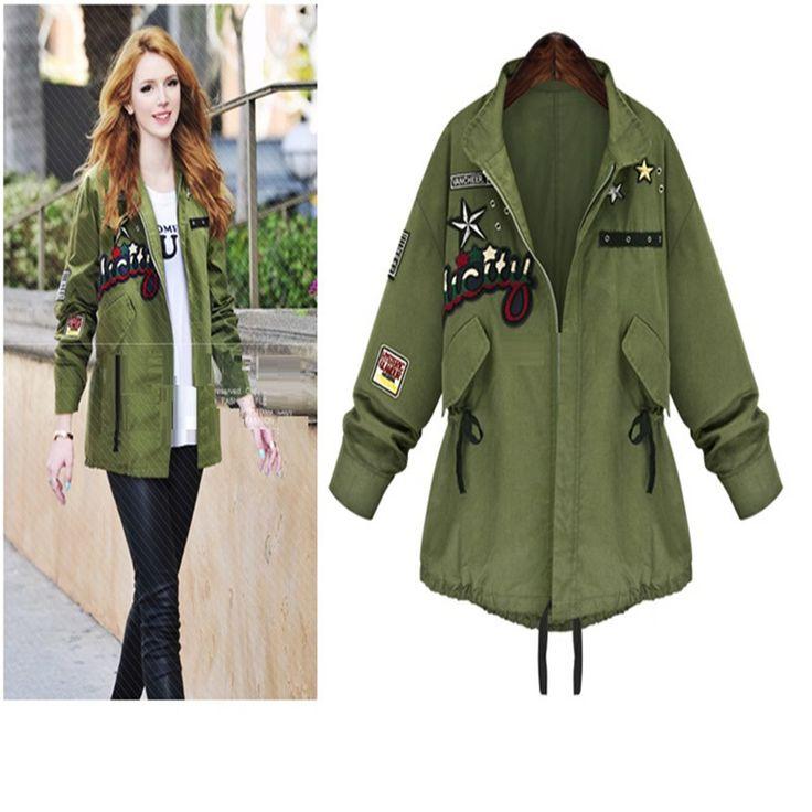 Aliexpress.com: Comprar Mujer chaqueta verde del ejército militar 2015 del otoño mujer chaqueta rompevientos chaquetas de otoño para mujeres cascada abrigo de mezclilla Pluz tamaño 5XL de chaqueta impermeable fiable proveedores en Hippie Boho
