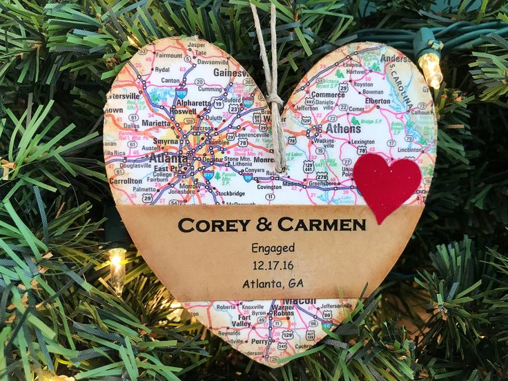 Personalized Engagement Ornament, Newly Engaged Ornament, Engagement Gift For Couple, Wedding Shower Gift, Engagement Date, Map Ornament by AtHomeWithWords on Etsy https://www.etsy.com/listing/482440772/personalized-engagement-ornament-newly