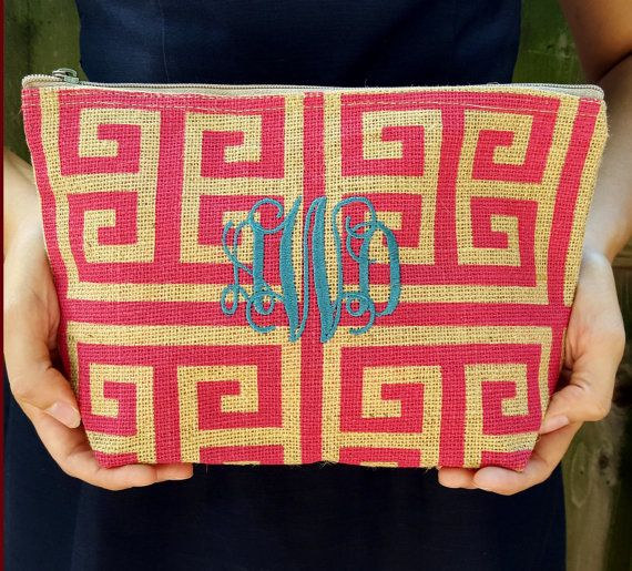 Embroidered Greek Key Jute Pouch | Personalized Makeup Bag