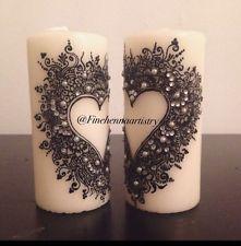 2 Henna Decorated Candles/ Anniversary Gift/ Eid / Ramadan / Home Decor