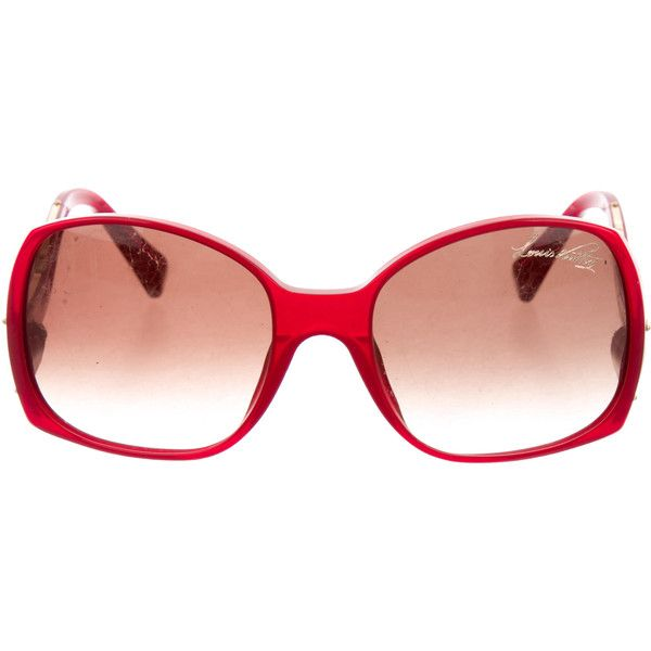 Pre-owned Louis Vuitton Glitter Gina Sunglasses ($295) ❤ liked on Polyvore featuring accessories, eyewear, sunglasses, red, oversized eyewear, louis vuitton eyewear, louis vuitton sunglasses, gradient lens sunglasses and glitter glasses