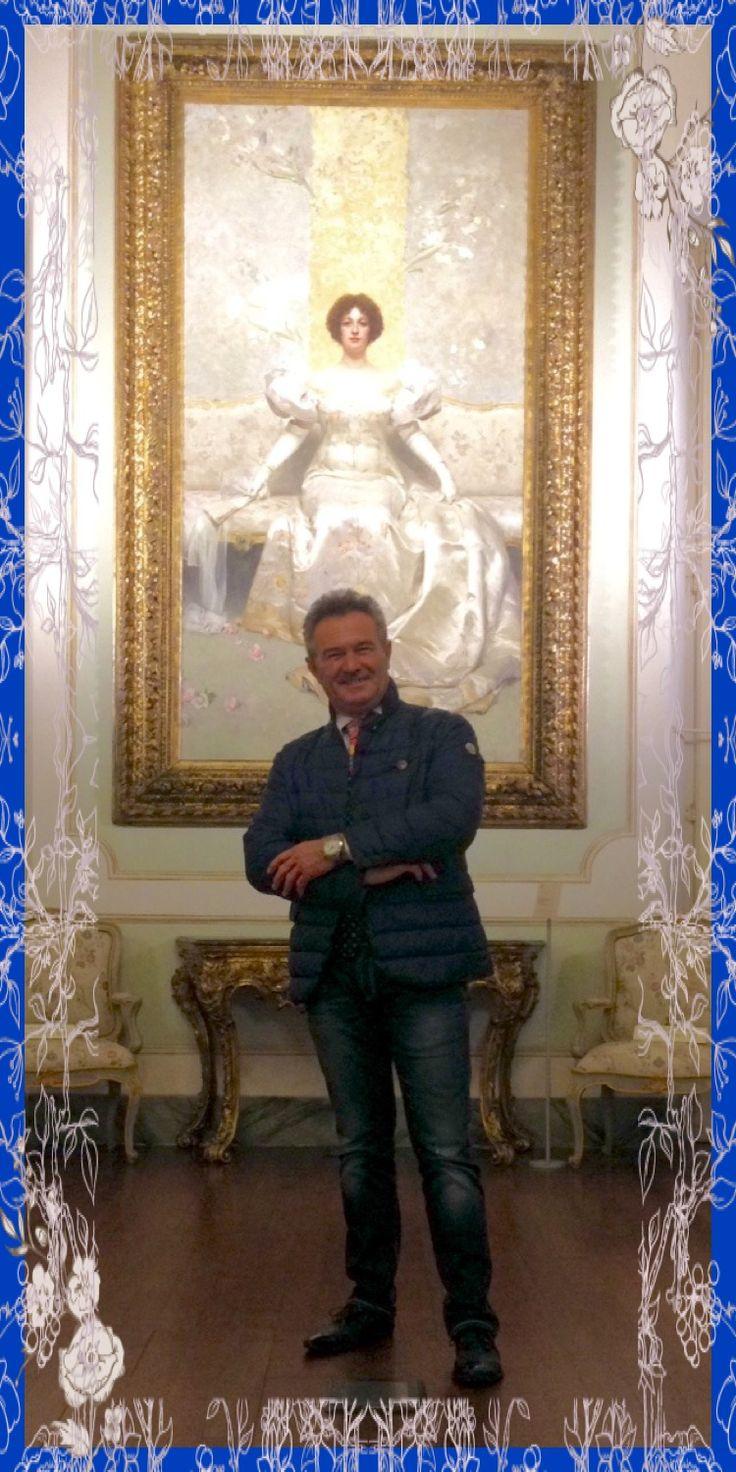 """Cesare al Palazzo Mazzetti di Asti con l'opera """"La Femme"""" di Giacomo Grosso! Anno 2016."""