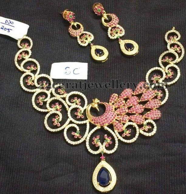 Jewellery Designs: Dancing Peacock CZ Choker