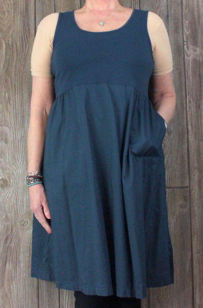 997824d40077 J Jill Tank Dress M L size Slate Blue Stretch Top Full Skirt Lightweight  Pockets