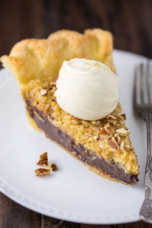 Homemade Chocolate Coconut Pecan Pie! Just one bite will have you hooked.