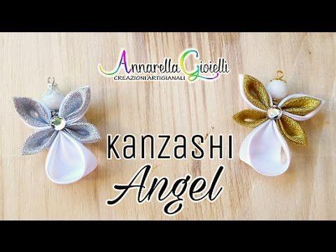(43) Kanzashi Angel 🌻 Angioletto con nastro di raso 🌻 Annarella Gioielli - YouTube