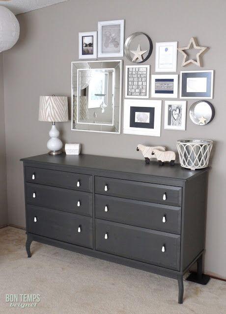 Ikea gray dresser and babies r us white crib.