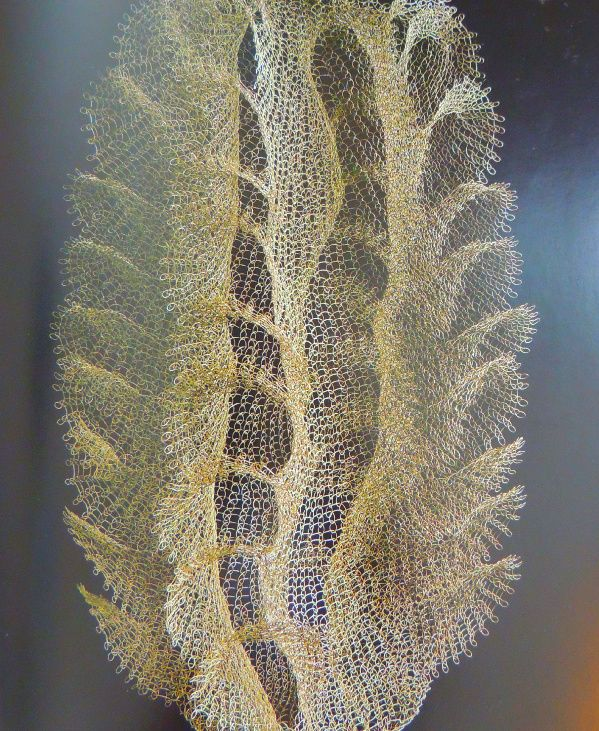 Amazing crochet work done in metal!  It's one of the sculptures by artist Ruth Asawa.  More info: http://www.crochetconcupiscence.com/2013/09/celebrating-the-crochet-metal-sculptures-of-ruth-asawa/