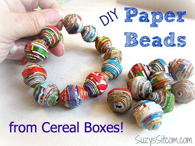Repurposed Cereal Box Jewelry Ideas   DIY Paper Beads by DIY Ready at http://diyready.com/28-things-you-can-make-from-cereal-boxes/