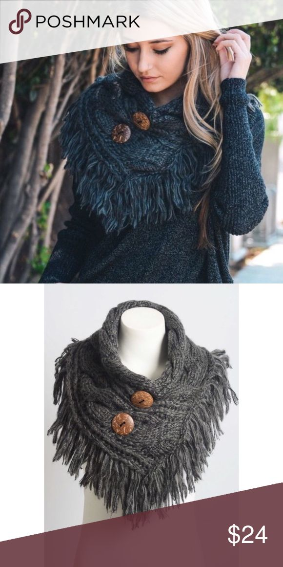 Charcoal Shoulder Warmer Fringe Shoulder Warmer with Coconut Buttons. 100% Acrylic. Color is Charcoal picture two shows exact color. Accessories Scarves & Wraps
