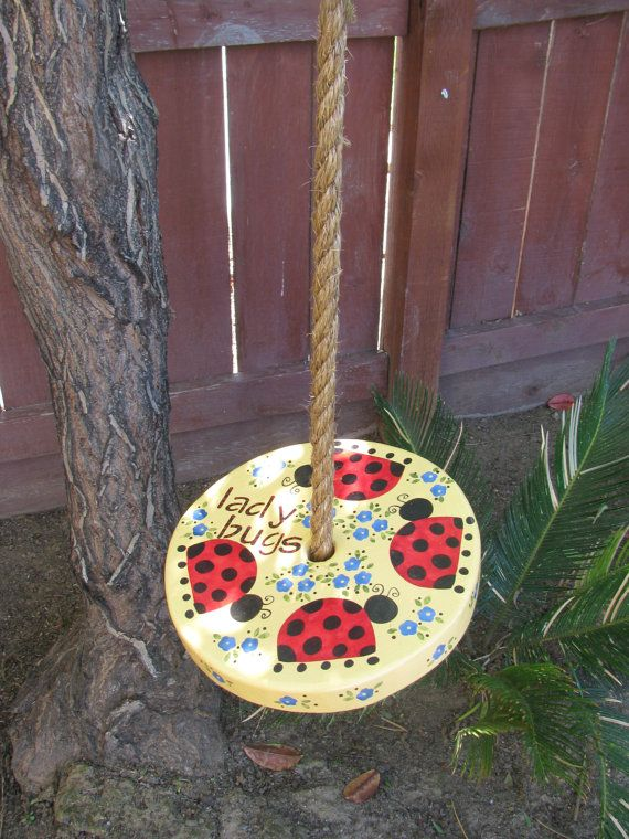 Wooden Tree Swing  Ladybugs and Flowers