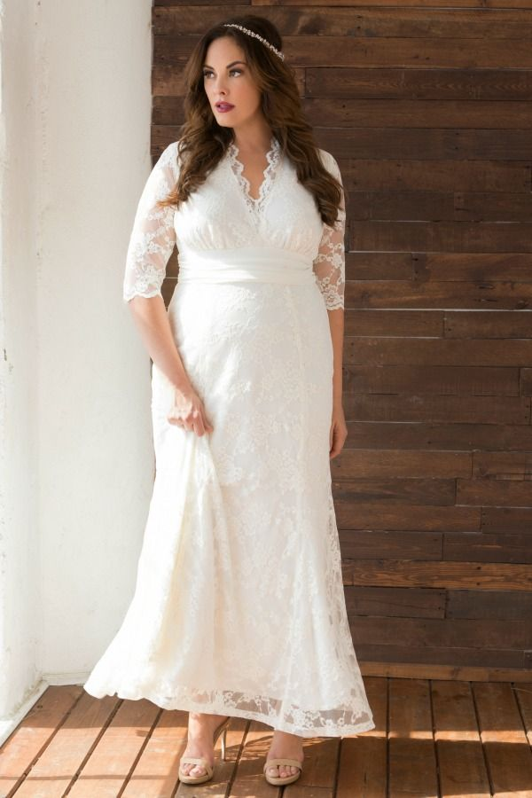 Our Amour Lace Wedding Gown Is A Classic Style Designed For Curvy Brides Soft Floral Lace An Empire Waist Plus Size Bridal Dresses Wedding Gowns Lace Dresses