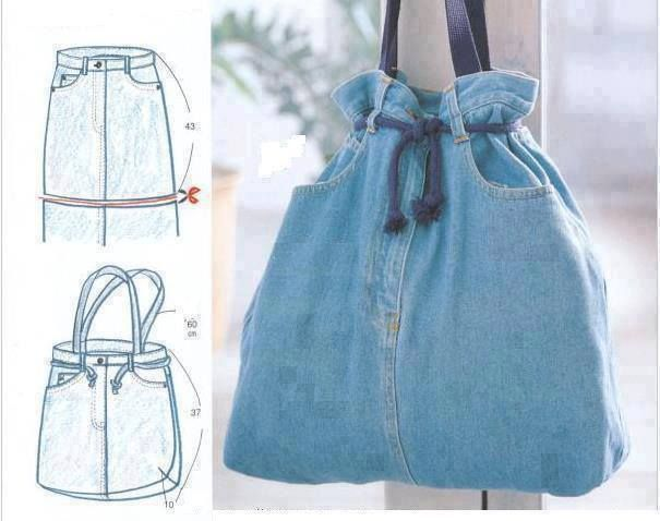 Easy denim sac Recycled Upcycled denim old jeans BAG +++ RECICLAR REUTILIZAR VIEJOS PANTALONES TEJANOS BOLSA