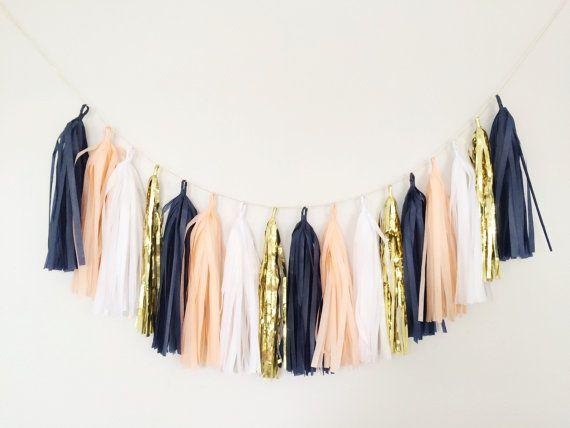 Peach and Navy Blue Tassel Garland - Peach Party Decor, Peach and ...