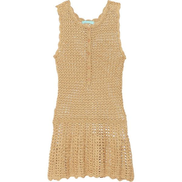 Melissa Odabash - Rosie Metallic Crochet-knit Dress ($167) ❤ liked on Polyvore featuring dresses, gold, metallic dress, beige crochet dress, loose fitting dresses, macrame dress and beige dress