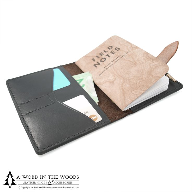 Record your ideas and protect your notes with this notebook cover that includes two slots for important cards, a pen holder, and an extra slot in the cover for a second notebook or other documents.