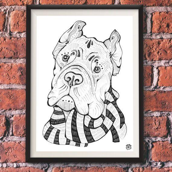 Cane Corso Dog A4 A5 illustration print art dog print by mmuffn