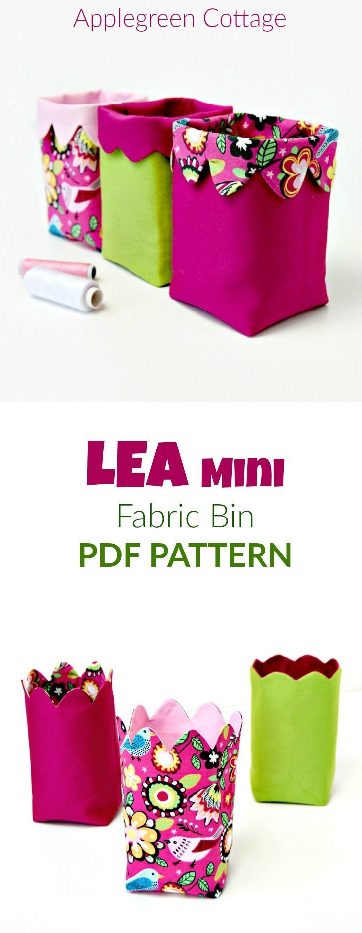 These cute DIY mini bins with unique fold-over scalloped top! 2 versions,  both adorable - organize your home in style!