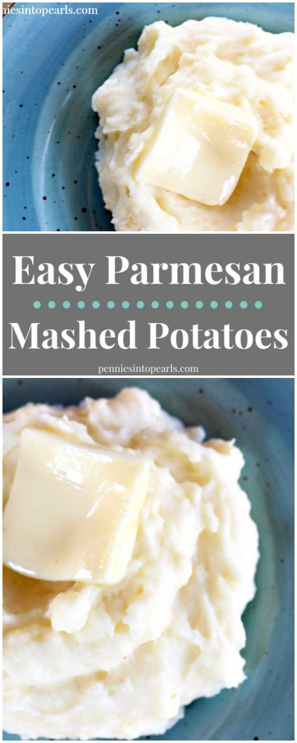 Easy Parmesan Mashed Potatoes - penniesintopearls.com - Light, fluffy, and creamy parmesan mashed potatoes. Easy side dish recipe for parmesan mashed potatoes.