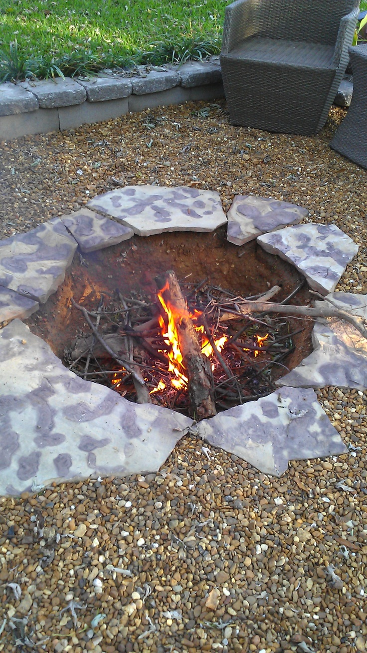 Recessed Firepit Outdoor Pinterest Flagstone