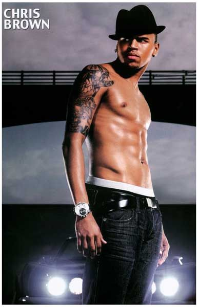 Chris Brown Shirtless Portrait Music Poster 11x17