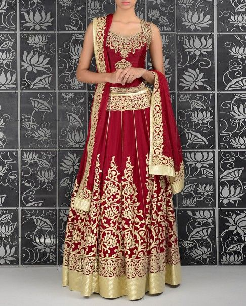 Crimson Red Lengha with Corset Blouse - Rohit Bal - Designers