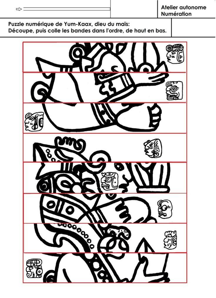 Puzzle numérique de Yum Kaax, dieu maya du maïs - école maternelle Gellow