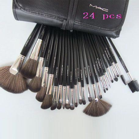 mac 24 pcs brushes set with black leather pouch sale