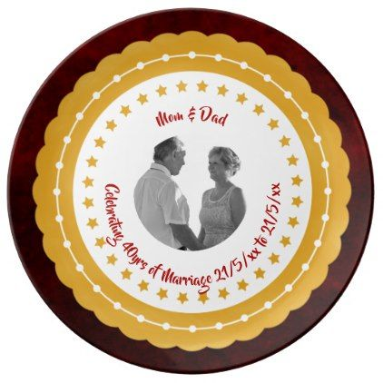 40th RUBY PHOTO Wedding Anniversary Parents Red 2 Plate - anniversary gifts ideas diy celebration cyo unique