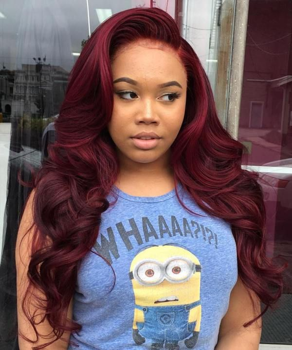 Long Curly Burgundy Sew In Hairstyle