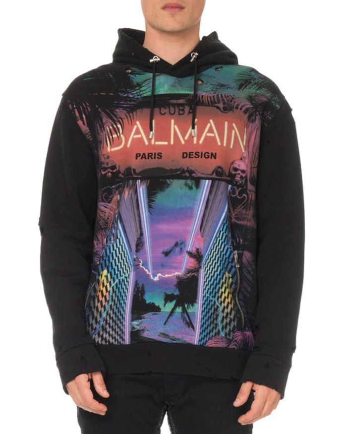 Balmain Men S Distressed Cuba Print Hoodie Sweatshirt 1 350 Hoodie Print Hoodies Balmain Men