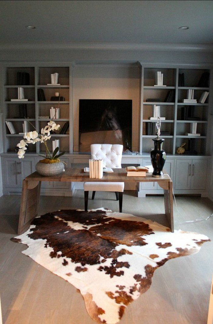 tapis en peau de bete, salon moderne, tv console led noir, tapis en peau de bete, salon aménagement