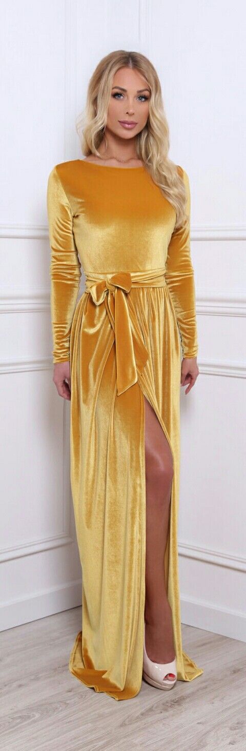 DESIRVALE ▪Mustard Velvet Evening Dress w. Tie Belt ▪Courtesy: etsy.com