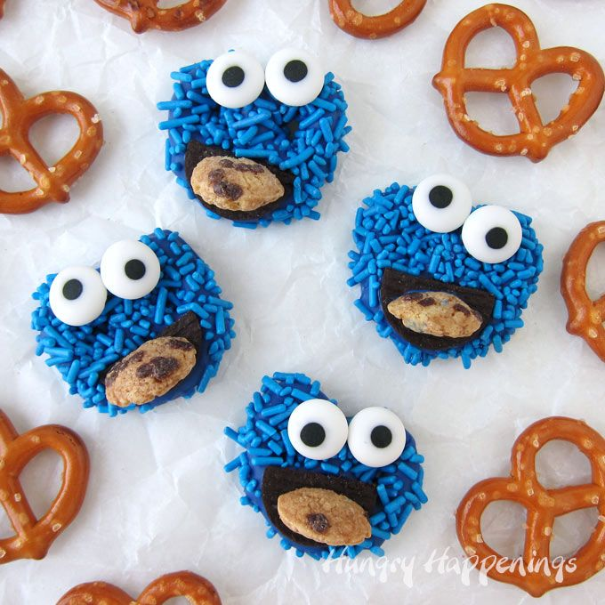 Cookie Monster Pretzels Sesame Street Party Desserts