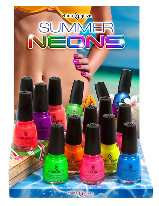 China Glaze Summer Neons Collection for Summer 2012... Very similar to the Poolside collection in 2010, but i will try anyway! Can't have too many brights!