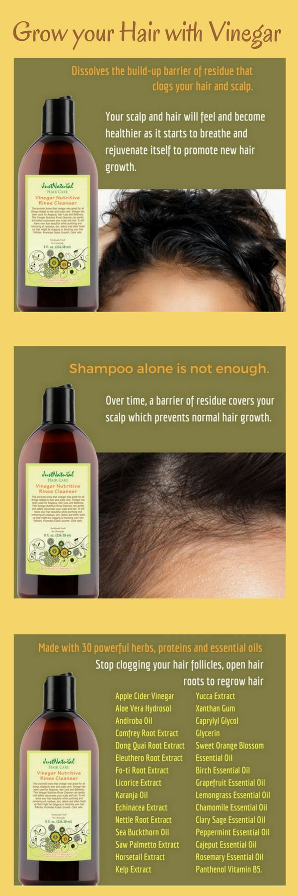 Vinegar Rinse Has Been Used For Centuries For Hair and Scalp Care.