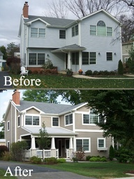 """This budget friendly exterior makeover really enhanced the character of the home. Wow!"""""""