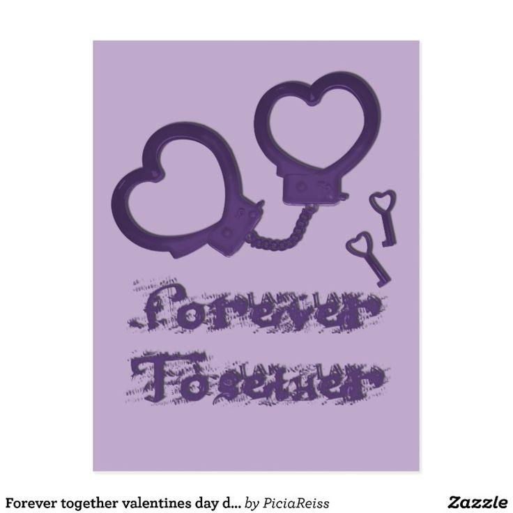 Forever together valentines day design cuffs heart postcard