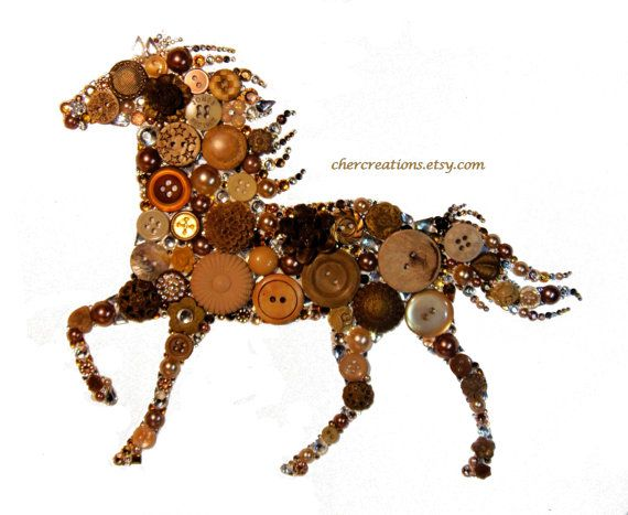 HORSE 8x10 Button Art Button Artwork diy ooak от CherCreations
