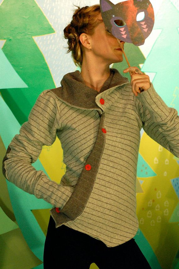better than your boyfriend's cardigan jacket--asymmetrical buttoned sweater with pocket and adjustable collar.