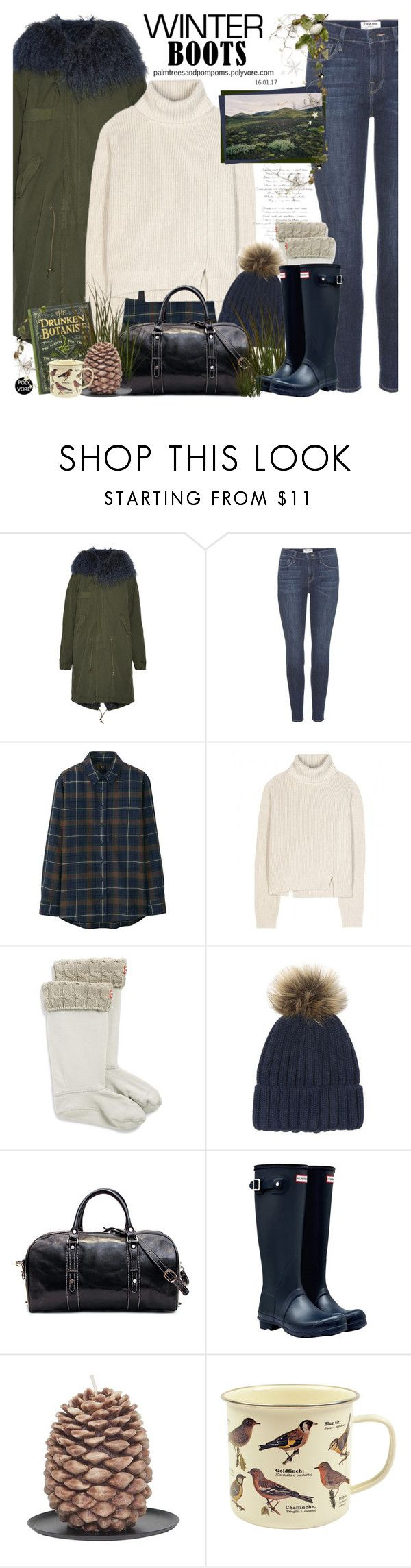 """""""So Cozy: Winter Boots / Hunter Original Tall Wellington Boots"""" by palmtreesandpompoms ❤ liked on Polyvore featuring Mr & Mrs Italy, Frame, Uniqlo, Proenza Schouler, Hunter, Warehouse, Aspen Bay, Dot & Bo, country and uniqlo"""
