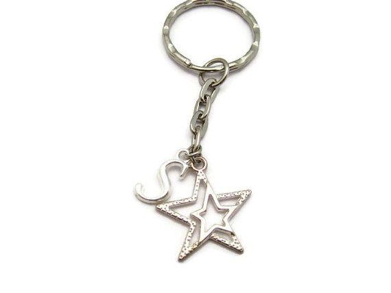 Star  Keychain   Double Star Keychain Personalized Star Keychain Initial Keychain Customized Gifts Under 10